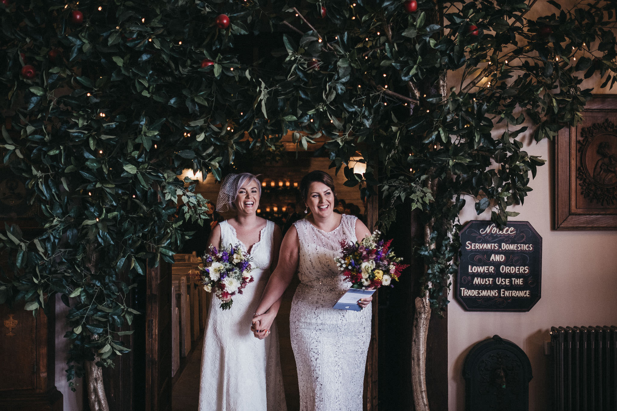 Lucy & Rachel emerge from their wedding ceremony at the South Causey Inn, Durham