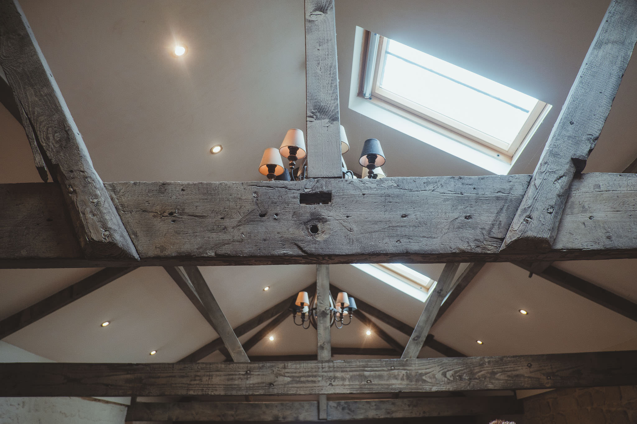 Exposed wooden beams in the Smithy