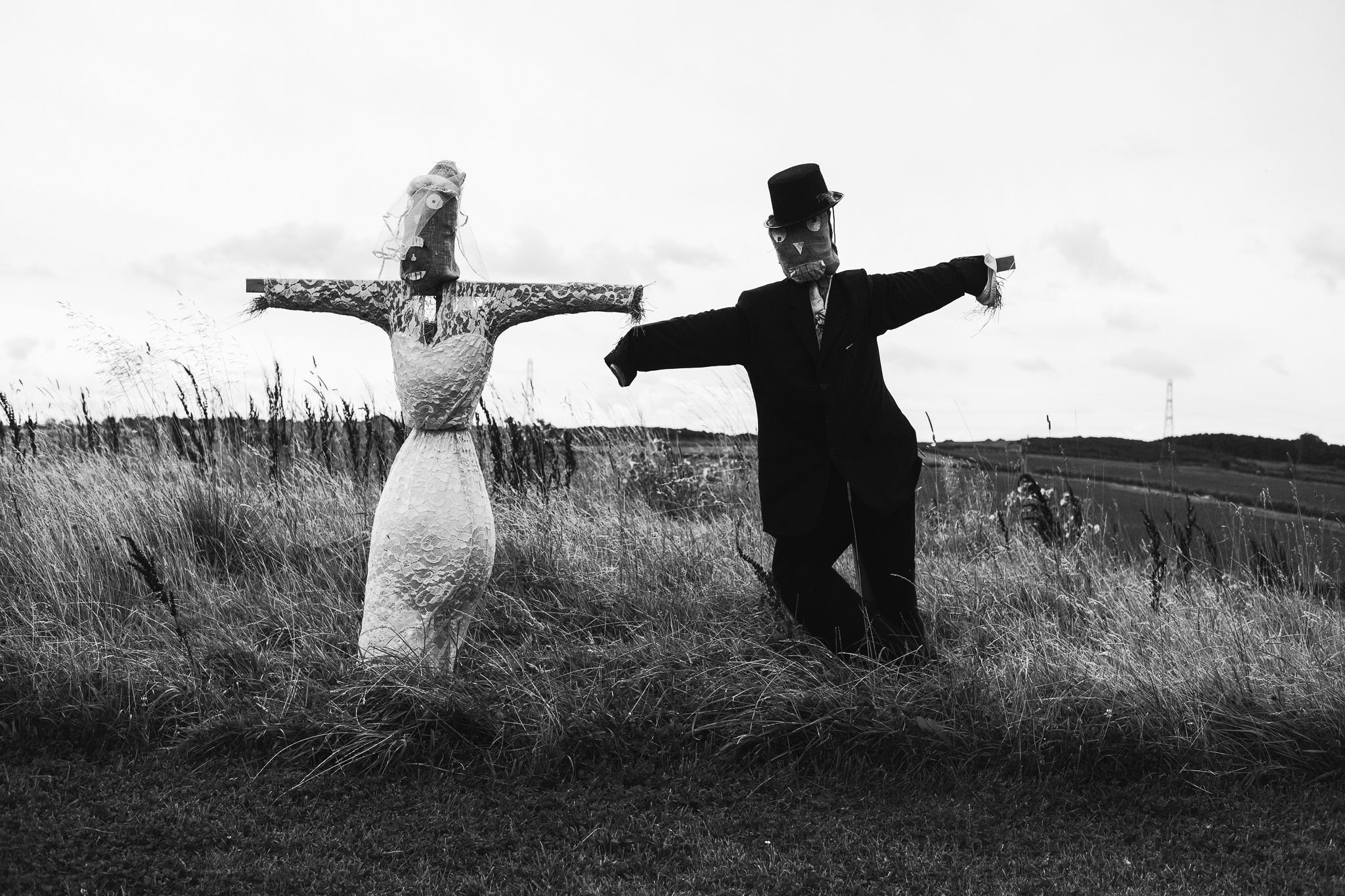 Scarecrow bride and groom at Northside Farm, Northumberland