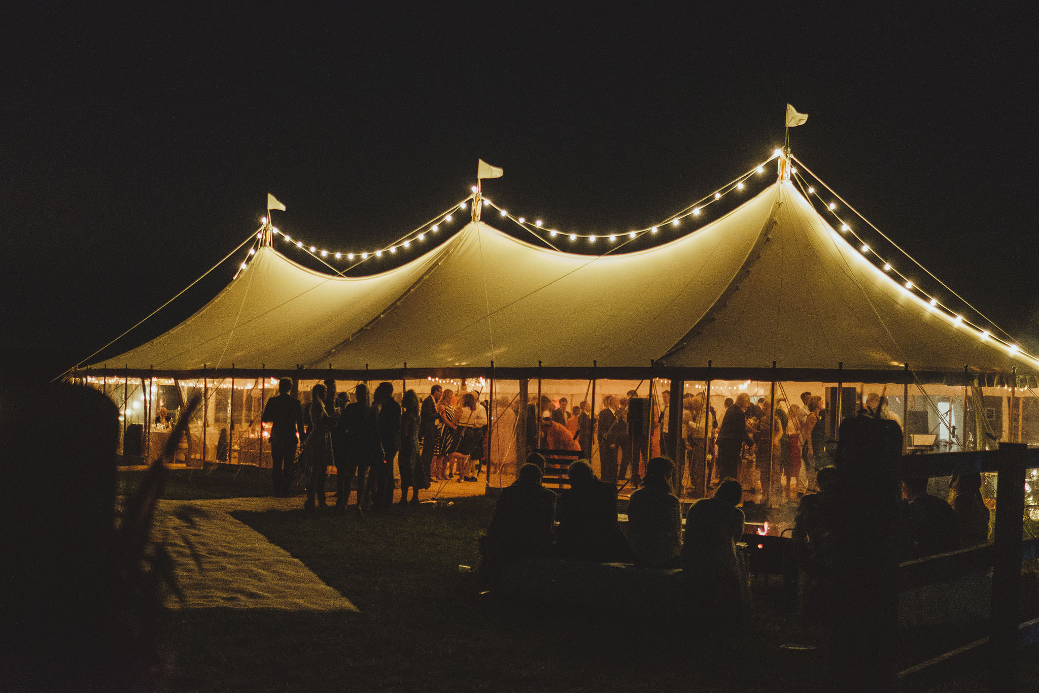 The marquee lit up at night on Oxbank Farm, Yorkshire