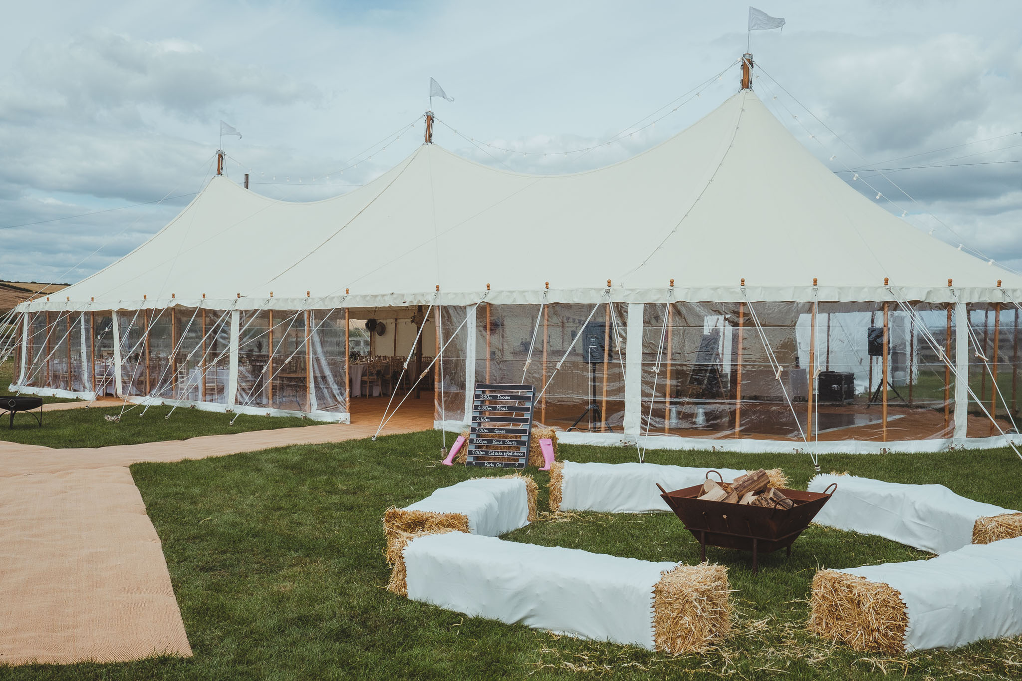 The marquee all set up for the start of the wedding day celebrations