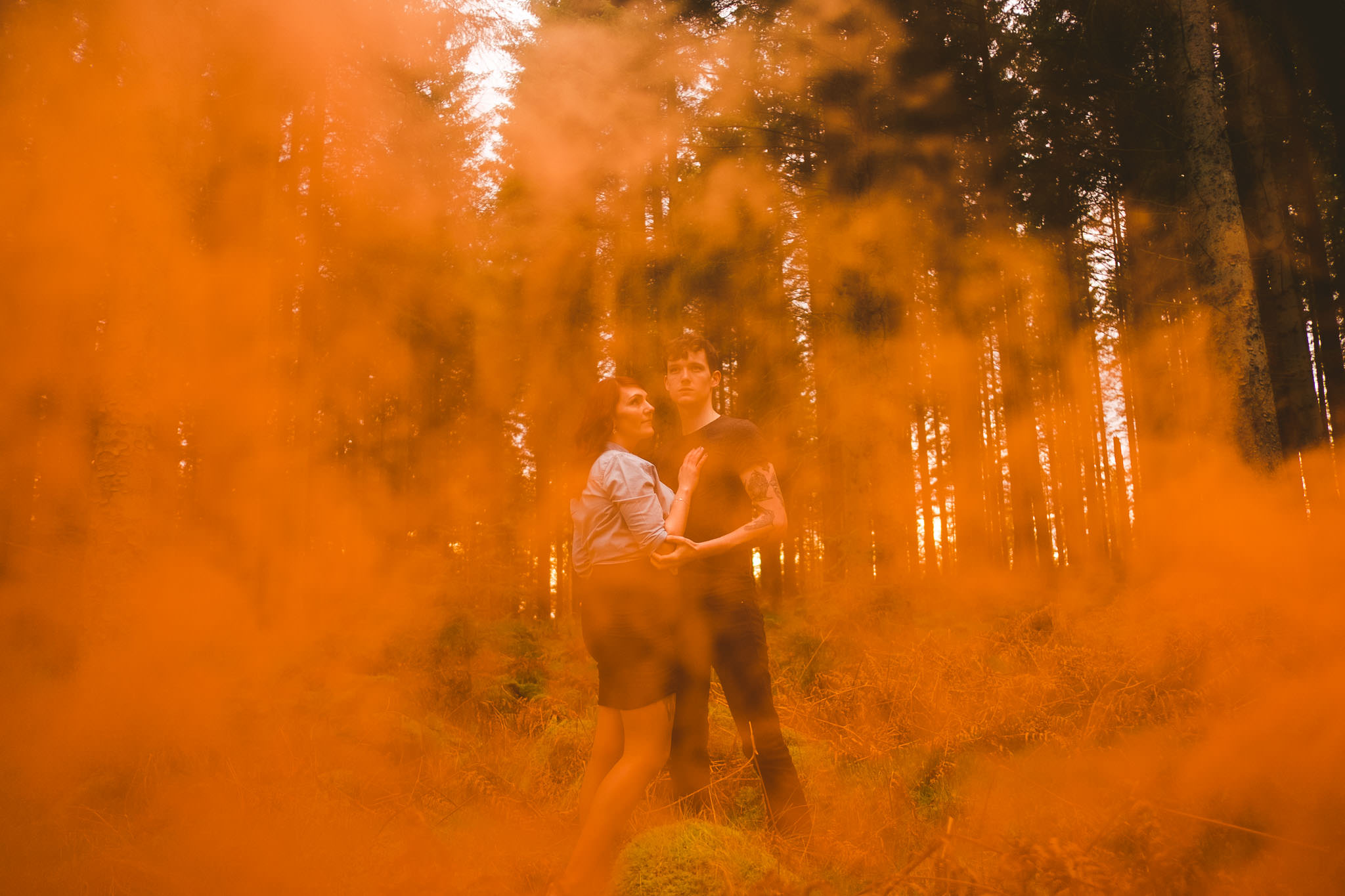 I took Sarah and Billy up to Kielder water and forest park for their shoot. The bright orange was a good contrast for the green woodland but the smoke was too thick in my initial shot.