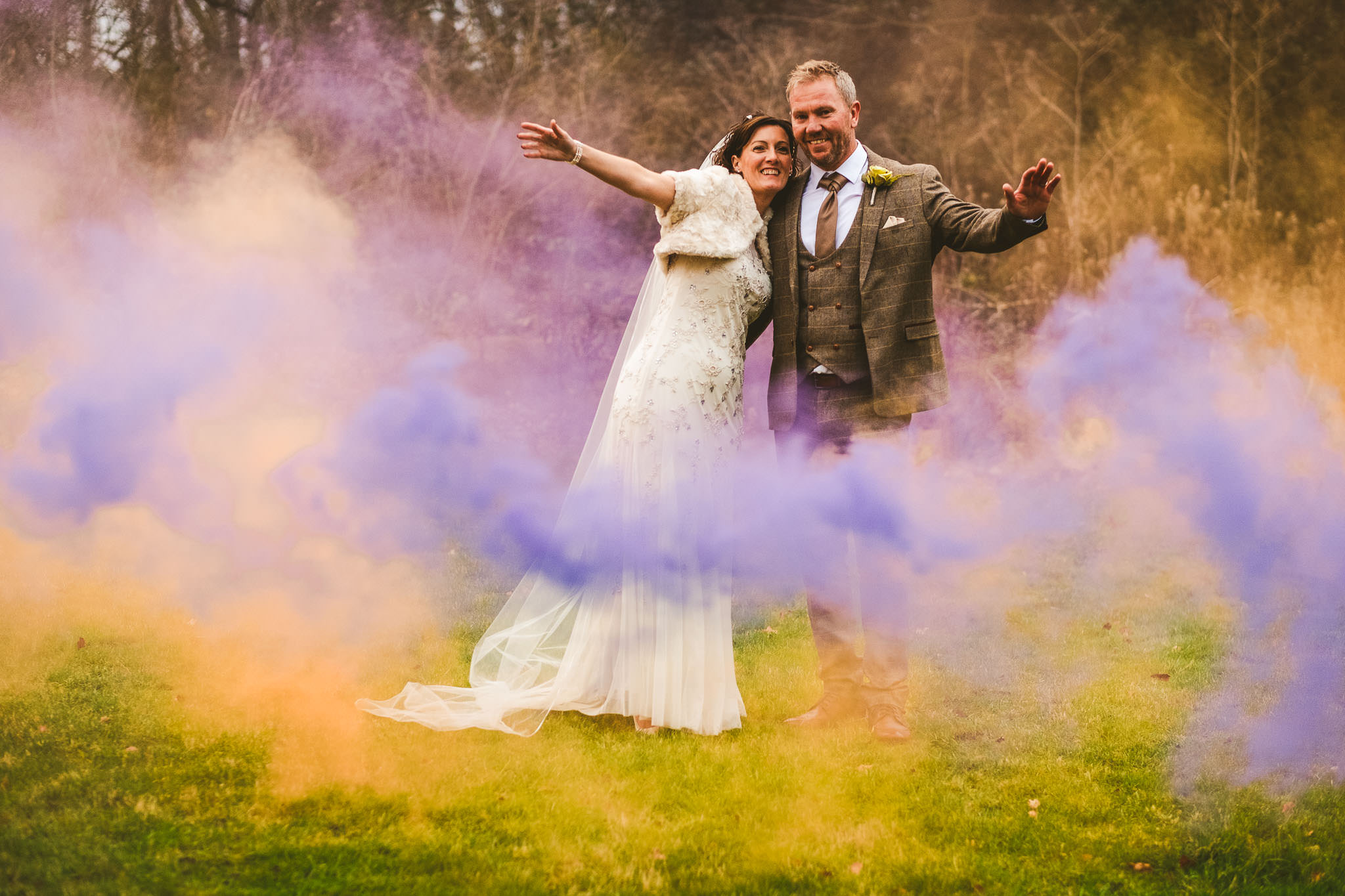 We used a number of colours of smoke bombs during the wedding. Bright primary colours work best, especially reds, yellows, oranges and purples.