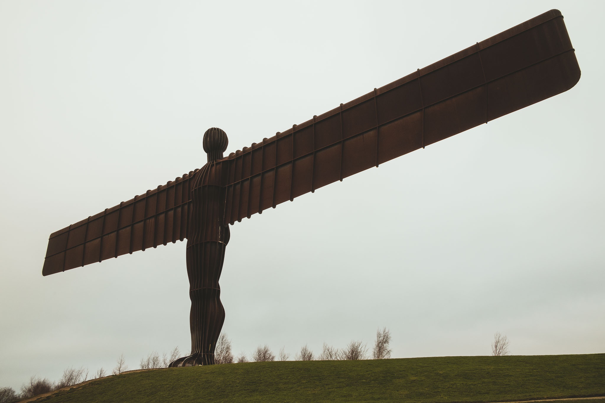 The Angel of the North in Newcastle on a cold winter day