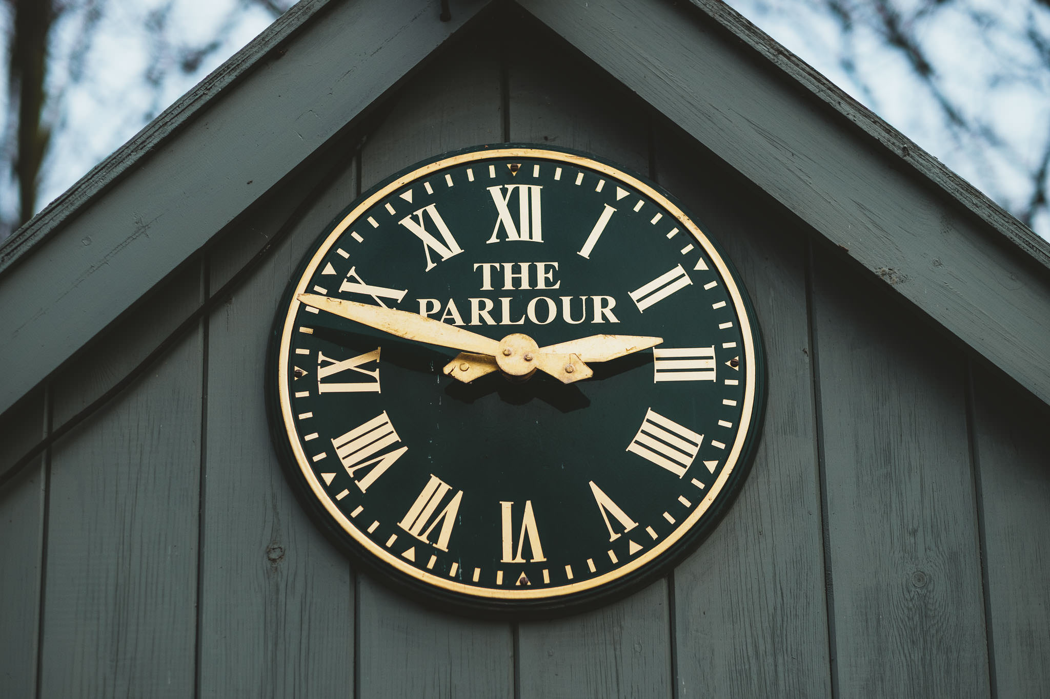 Close up of the clock at The Parlour at Blagdon Newcastle