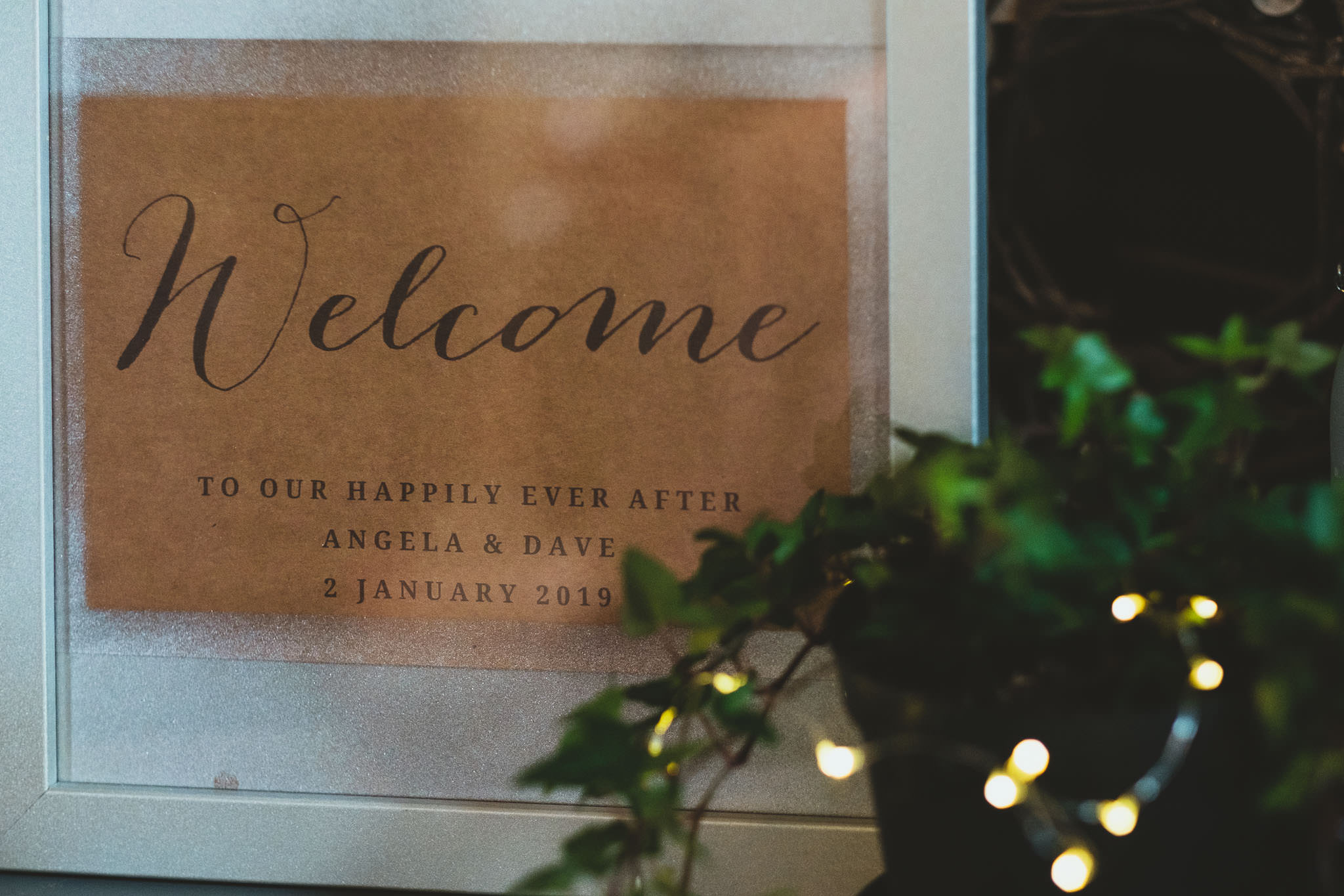 Wedding welcome sign at Newcastle wedding venue