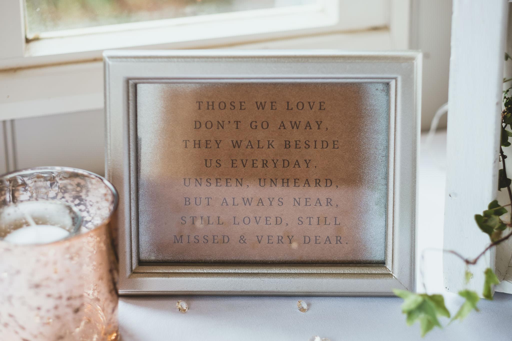 In memoriam wedding sign