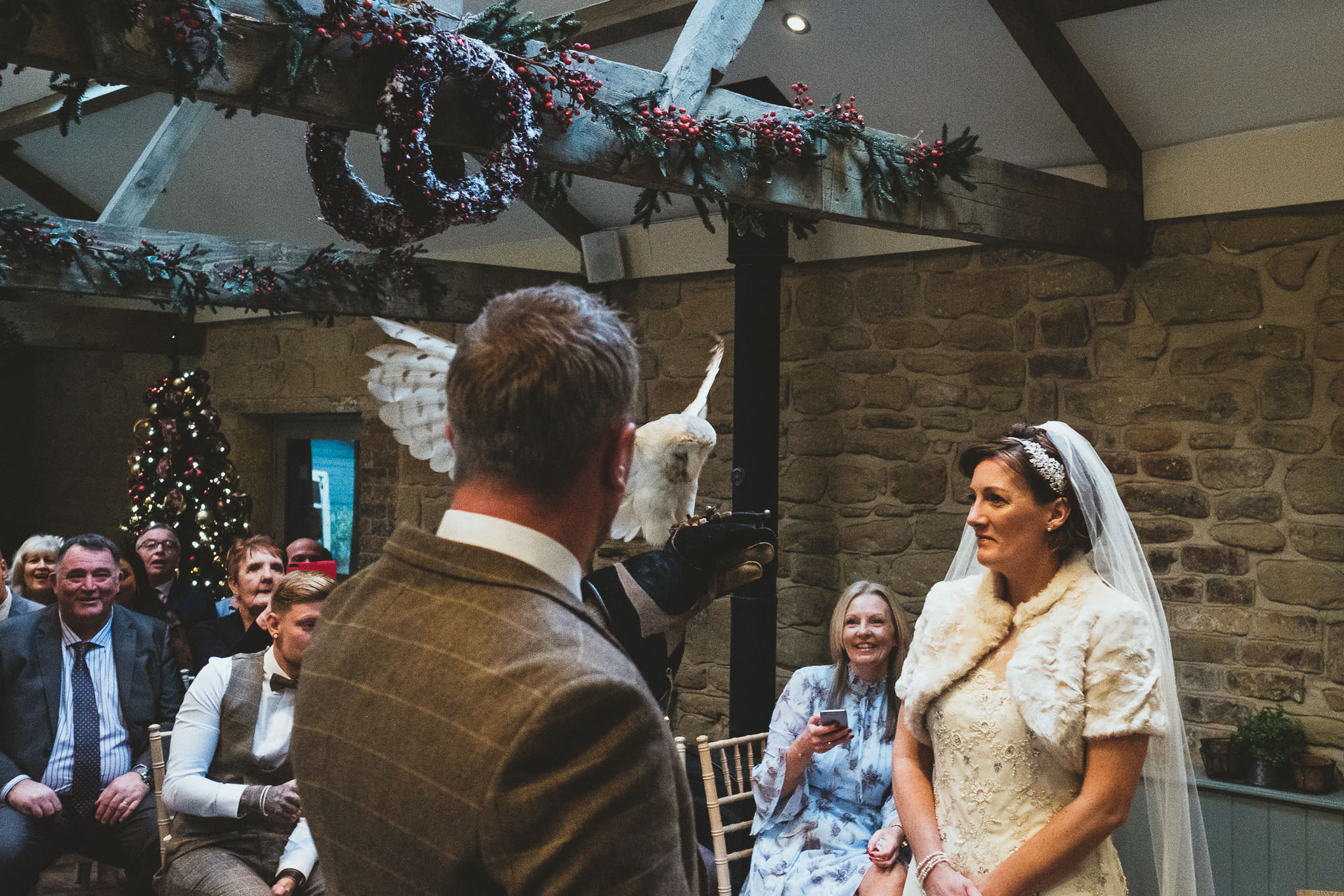 Owl lands on groom's arm during wedding ceremony