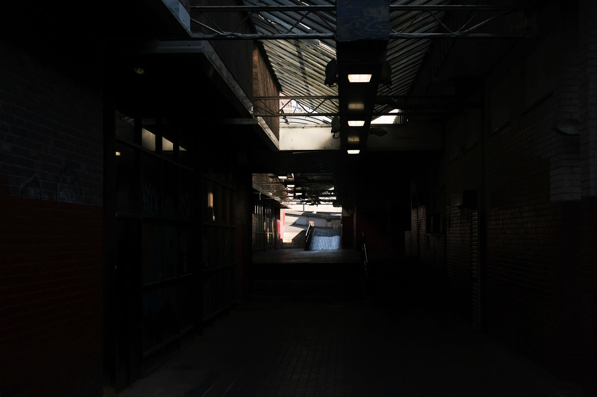 A dark alleyway in the centre of Newcastle