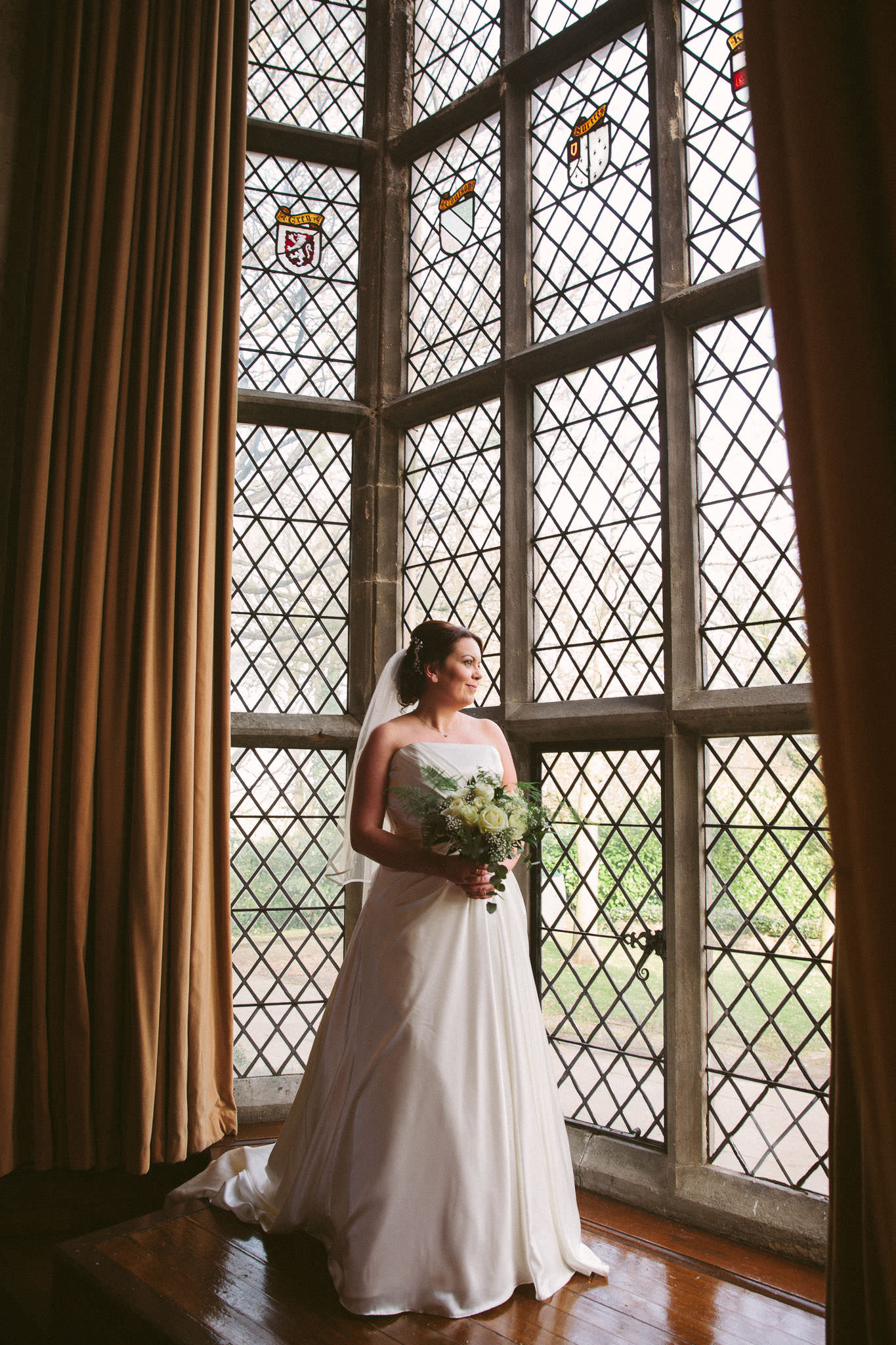 Lynne in the window of the Great Hall at Redworth Hall in Durham