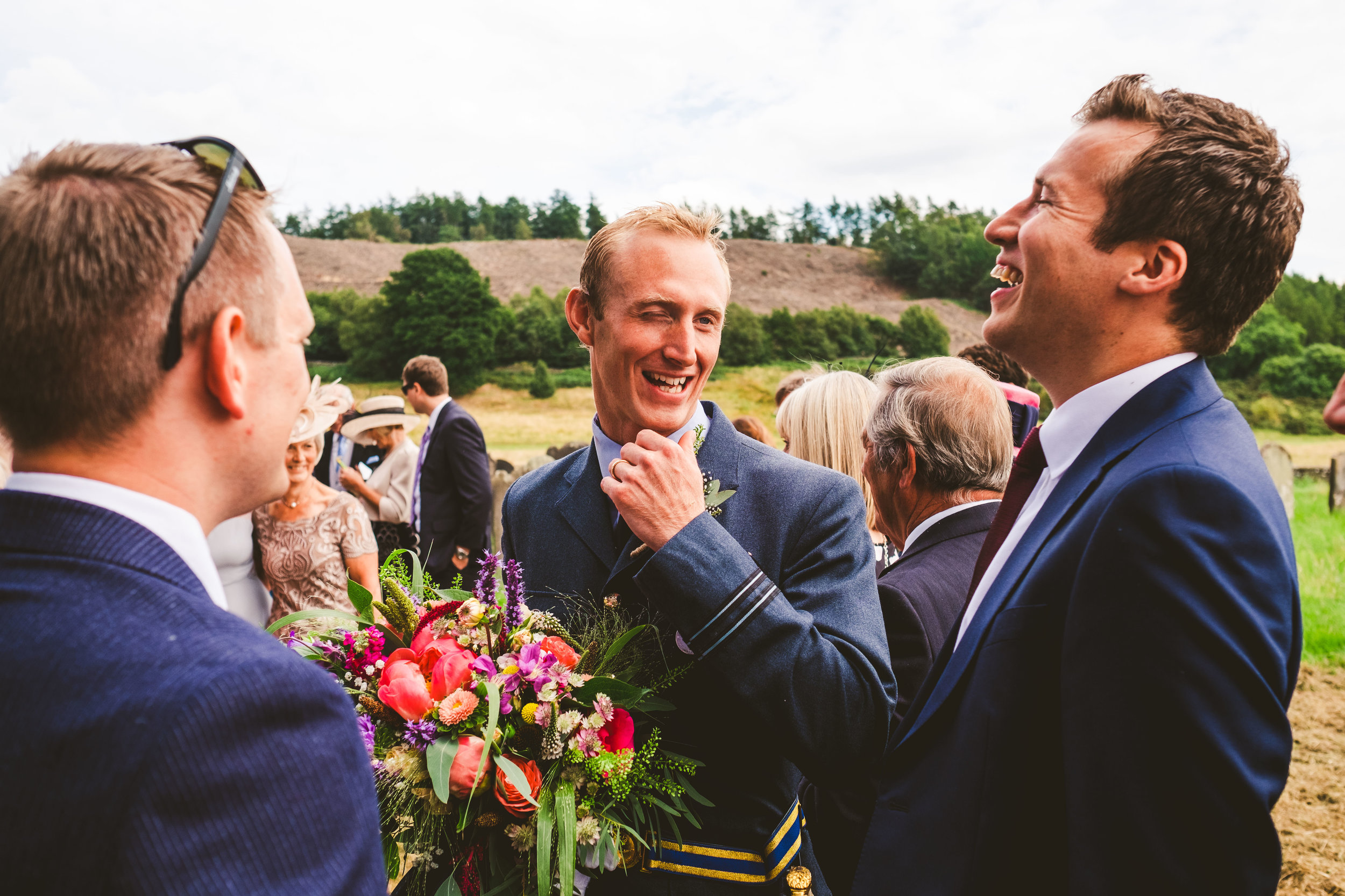 Ed mixing with wedding guest after his church wedding ceremony in Yorkshire
