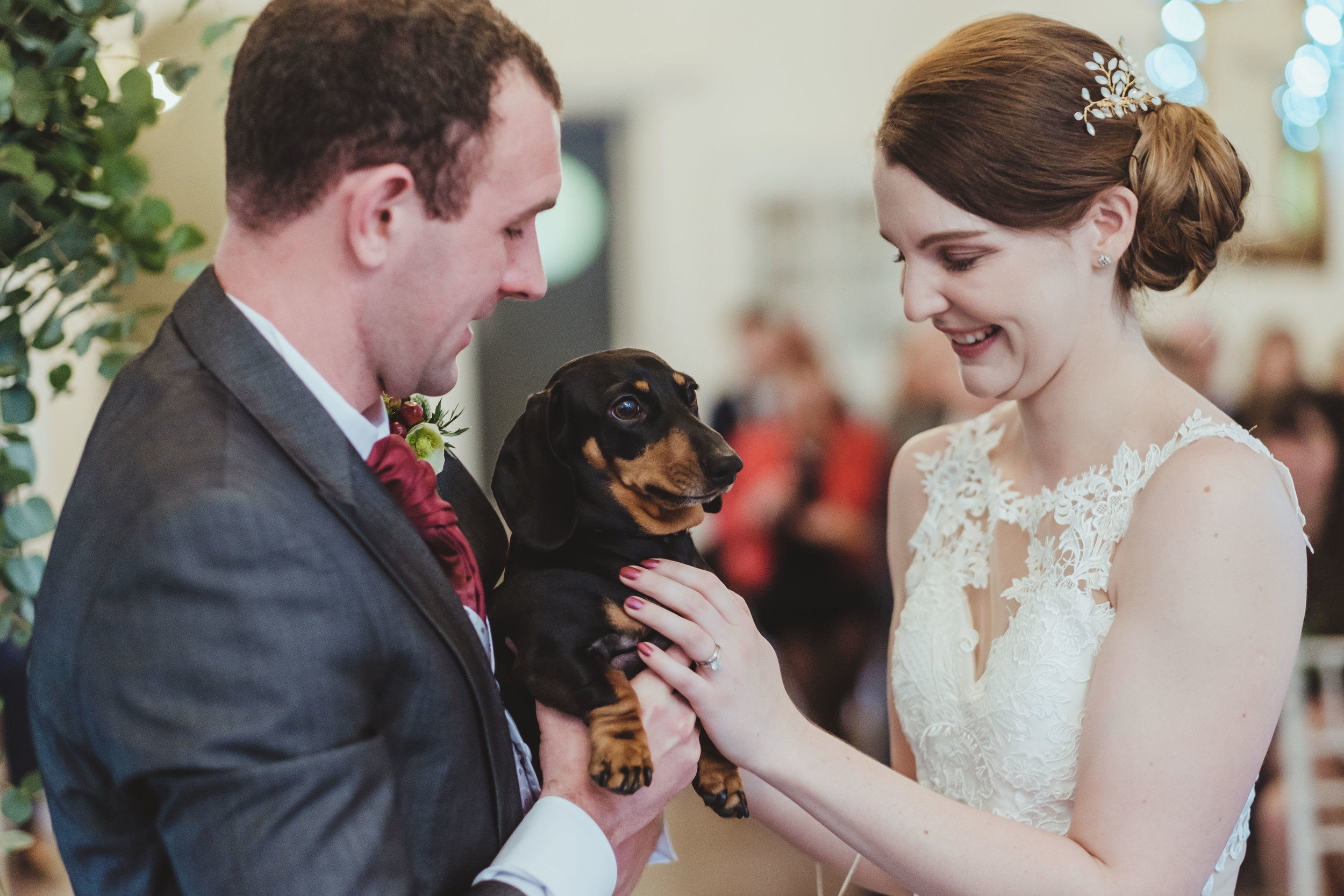 Bride and groom hold dog after the wedding ceremony