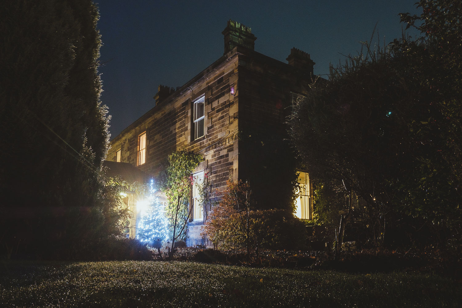 Horton Grange Northumberland wedding venue at night