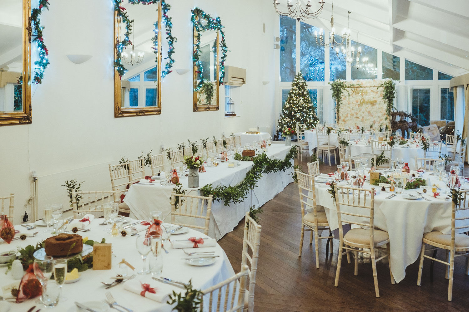 Horton Grange set up for a Christmas wedding breakfast