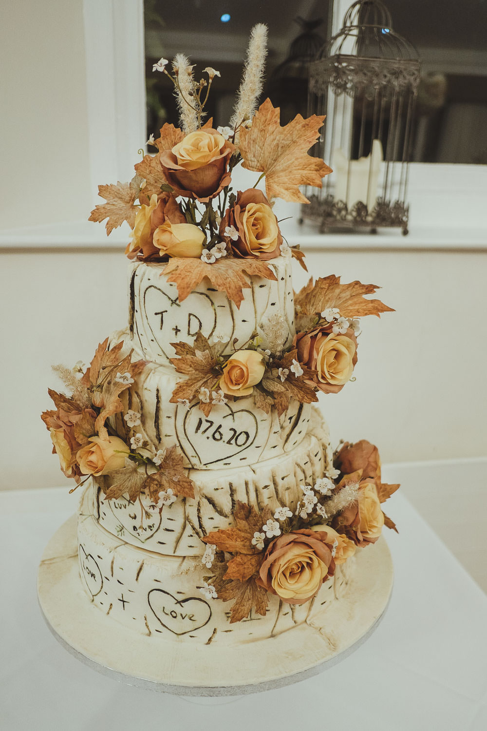 Autumnal themed wedding cake at Horton Grange