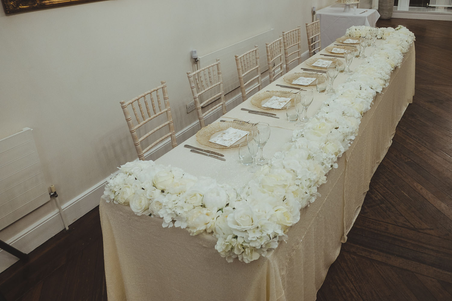 Top table set up for wedding at Horton Grange