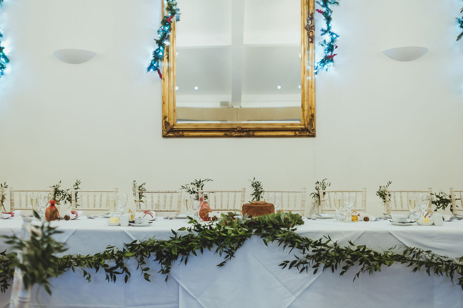 Detail of top table for wedding at Horton Grange