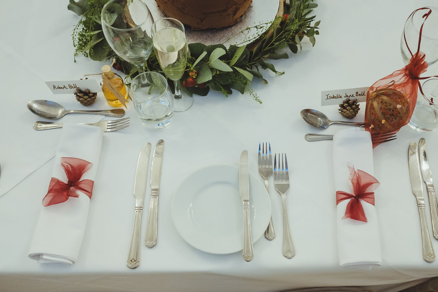 Place settings for top table at Horton Grange wedding
