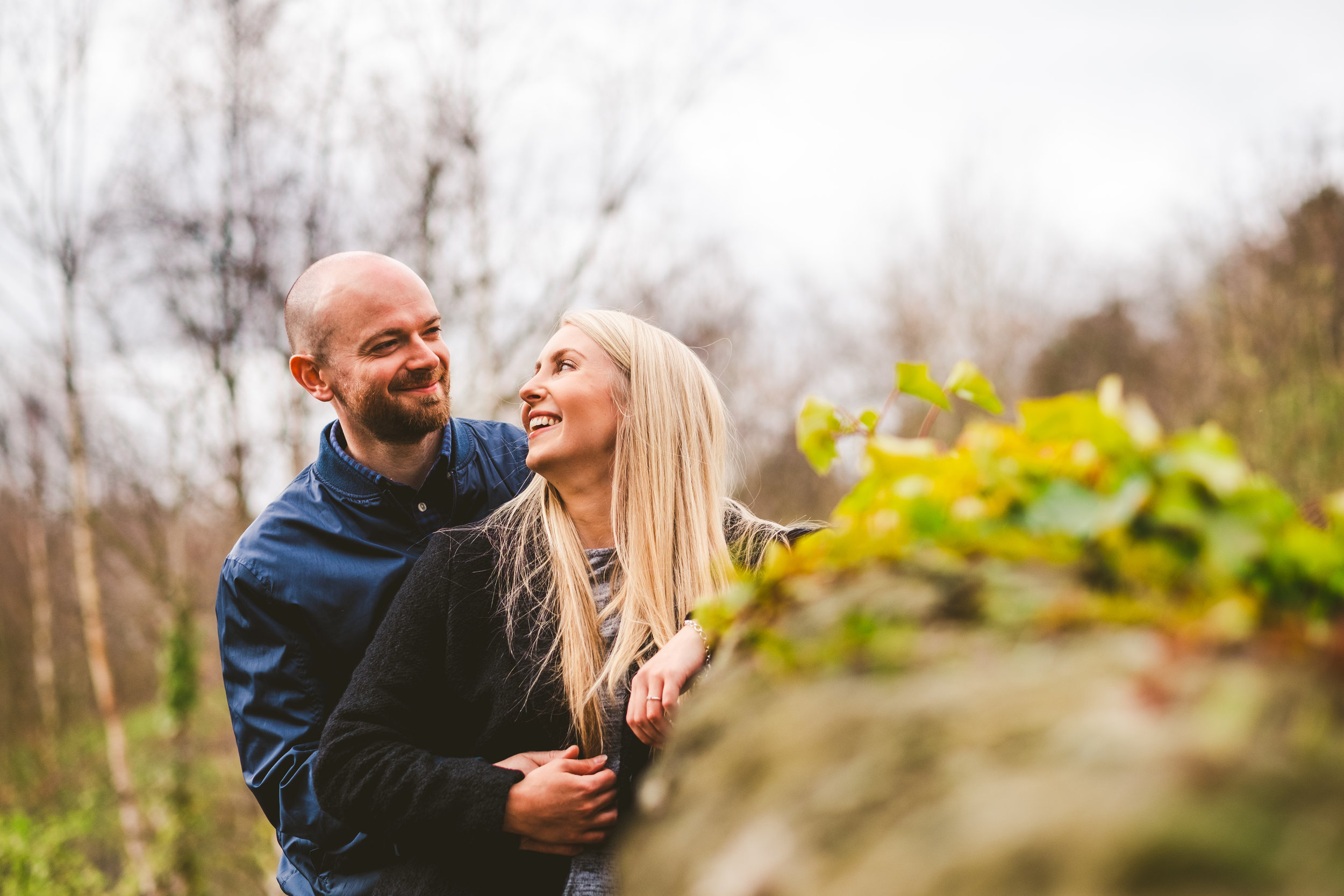 Couple smiling during pre-wedding session in Newcastle
