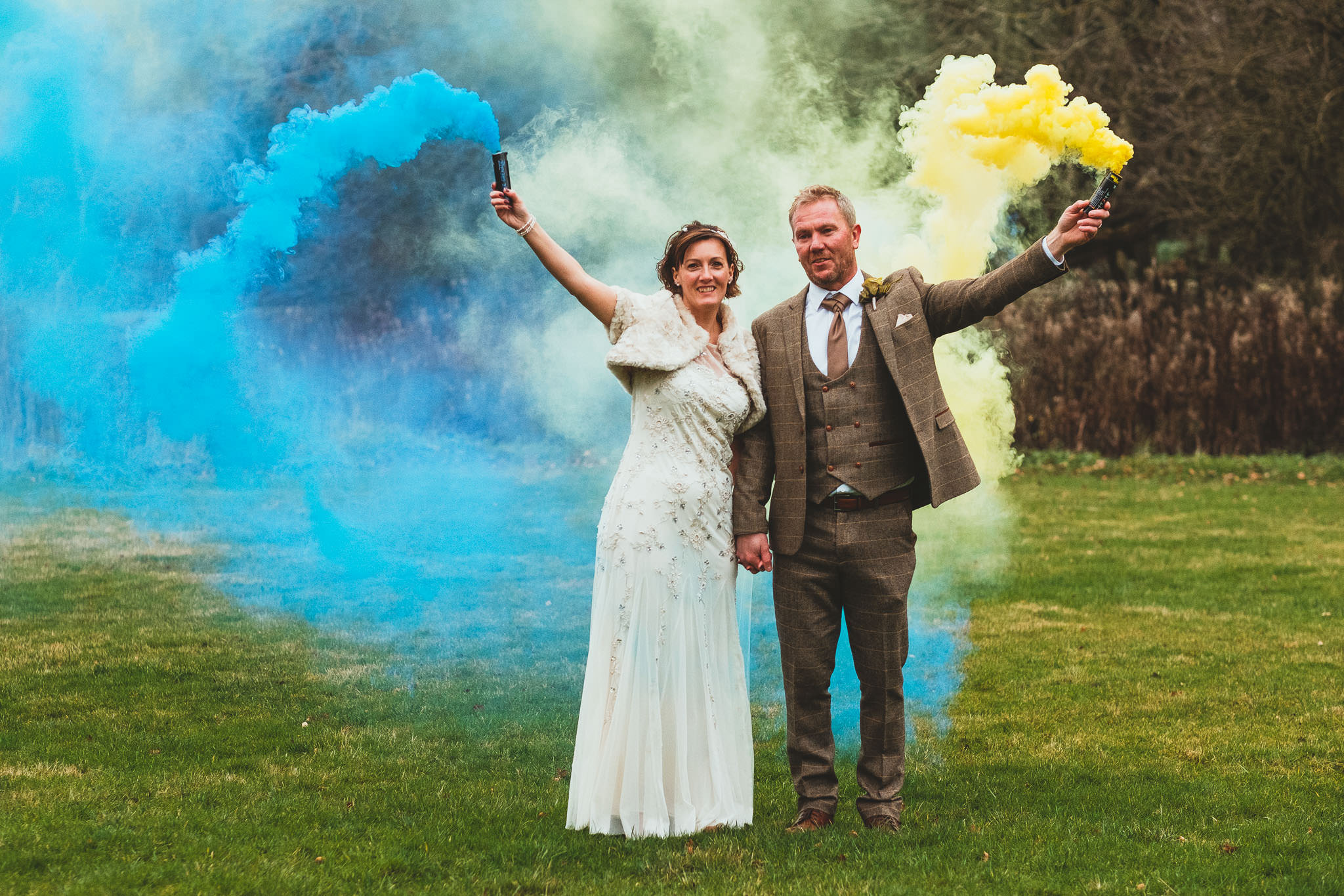 Smoke bombs at Angela & Dave's wedding at The Parlour in Blagdon, Northumberland