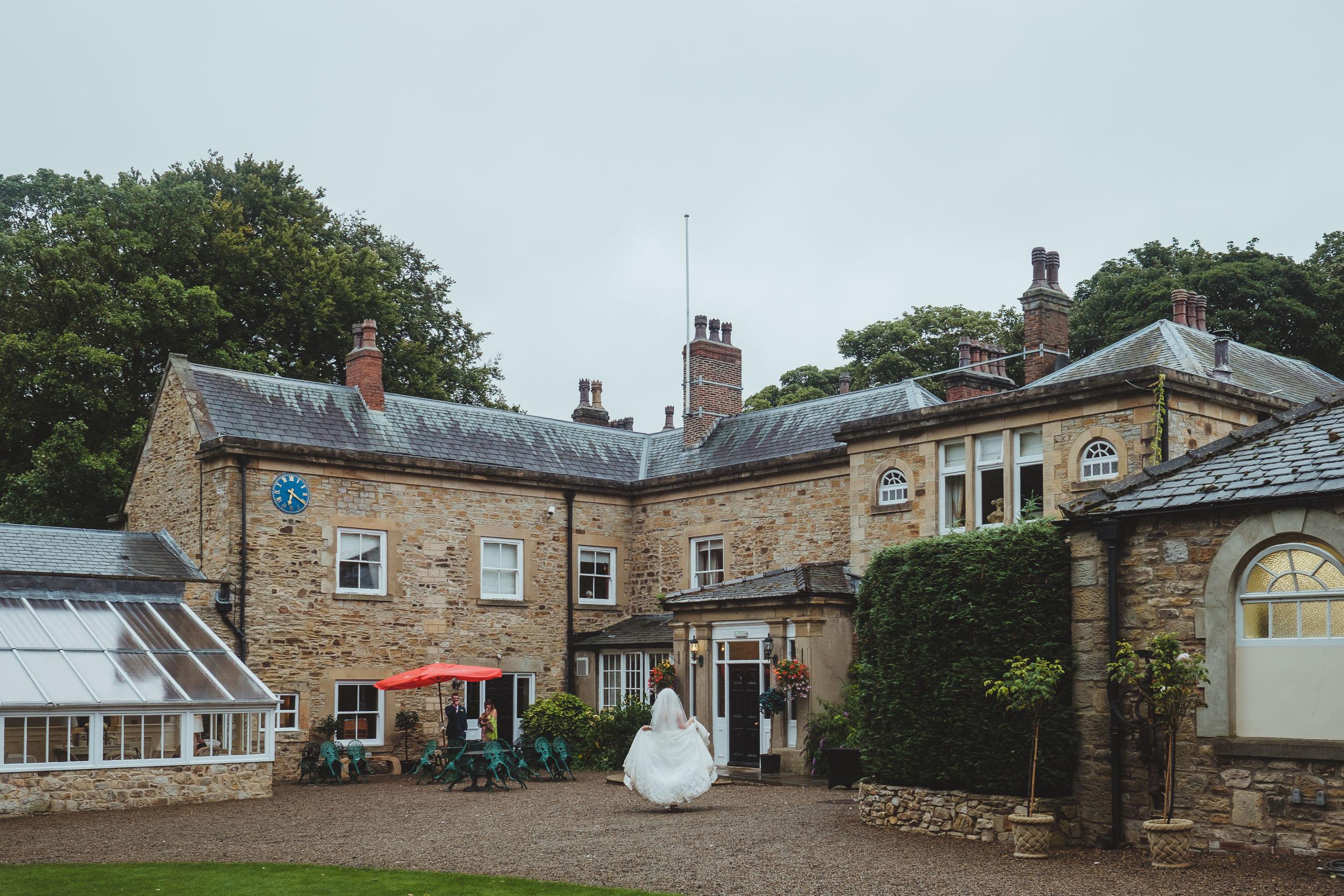 Whitworth Hall Durham wedding venue on a rainy day