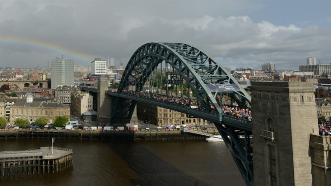 The Tyne Bridge during the Great North Run