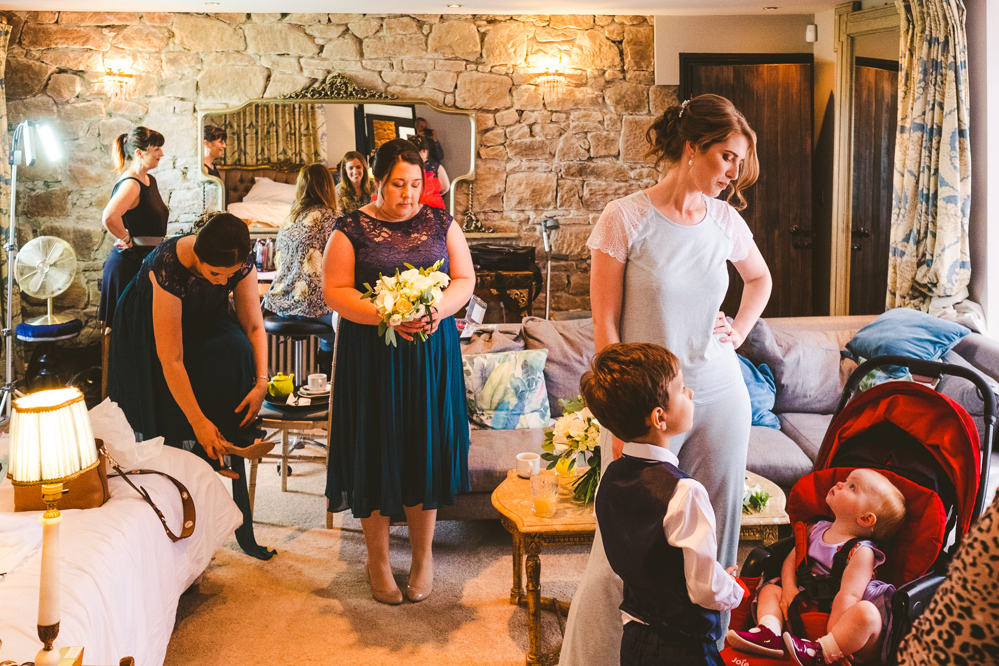 Bridal prep with children at Newton Hall