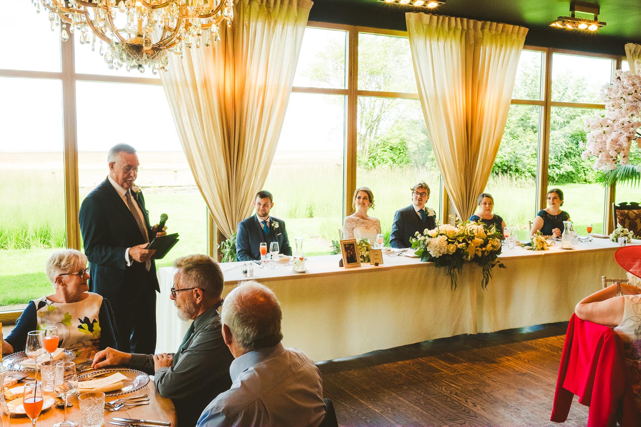 Wedding speech in the Garden Suite at Newton Hall