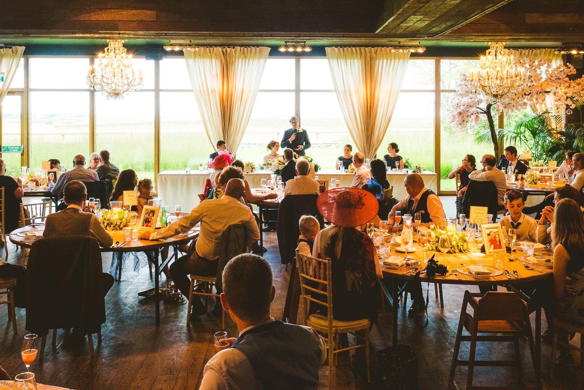 Wide view of groom's wedding speech