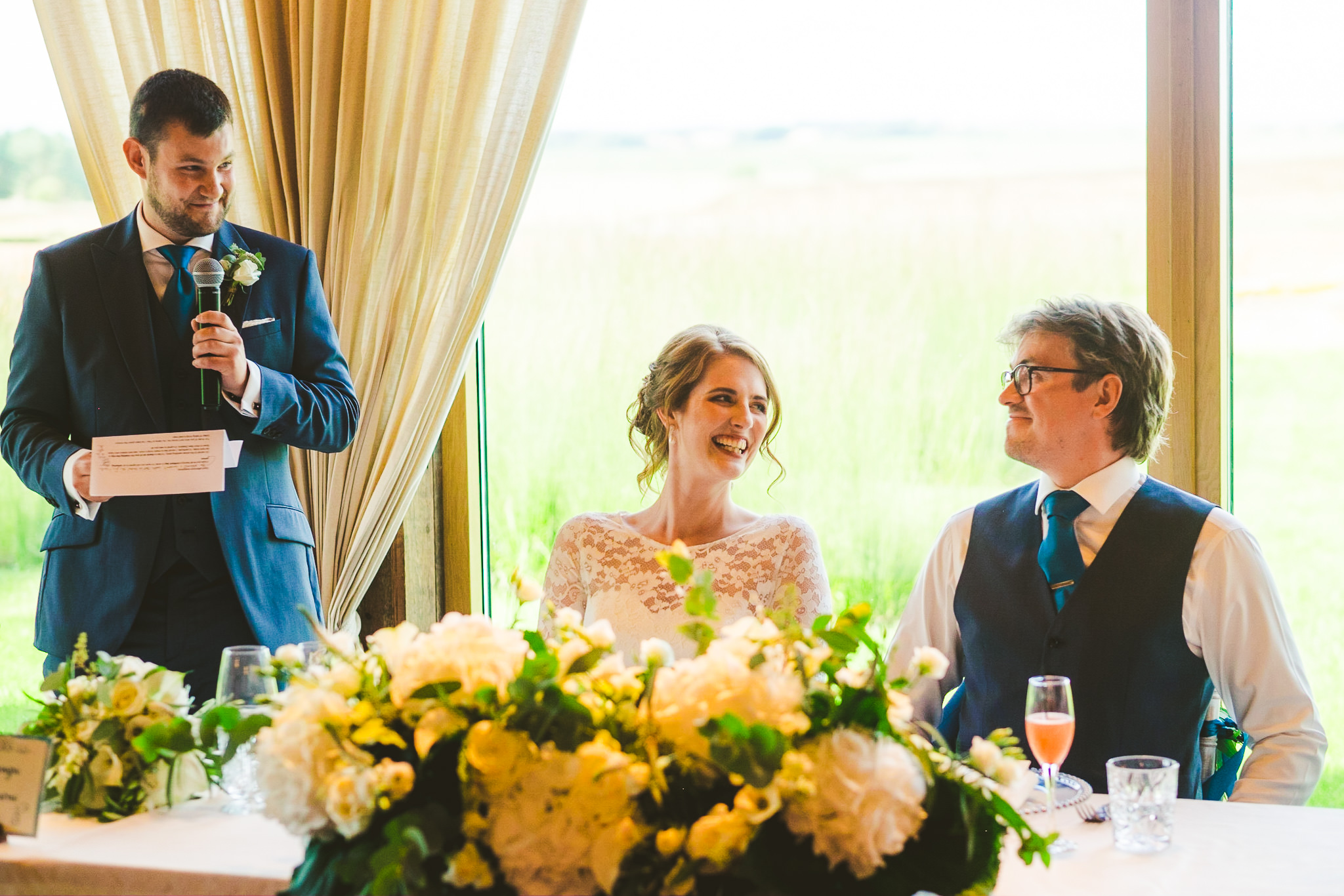 Best man makes bride and groom laugh during speeches