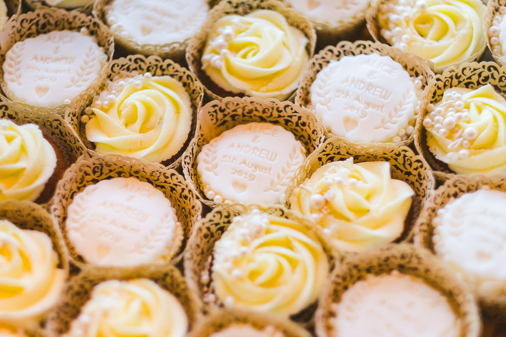 Close up of wedding cupcakes