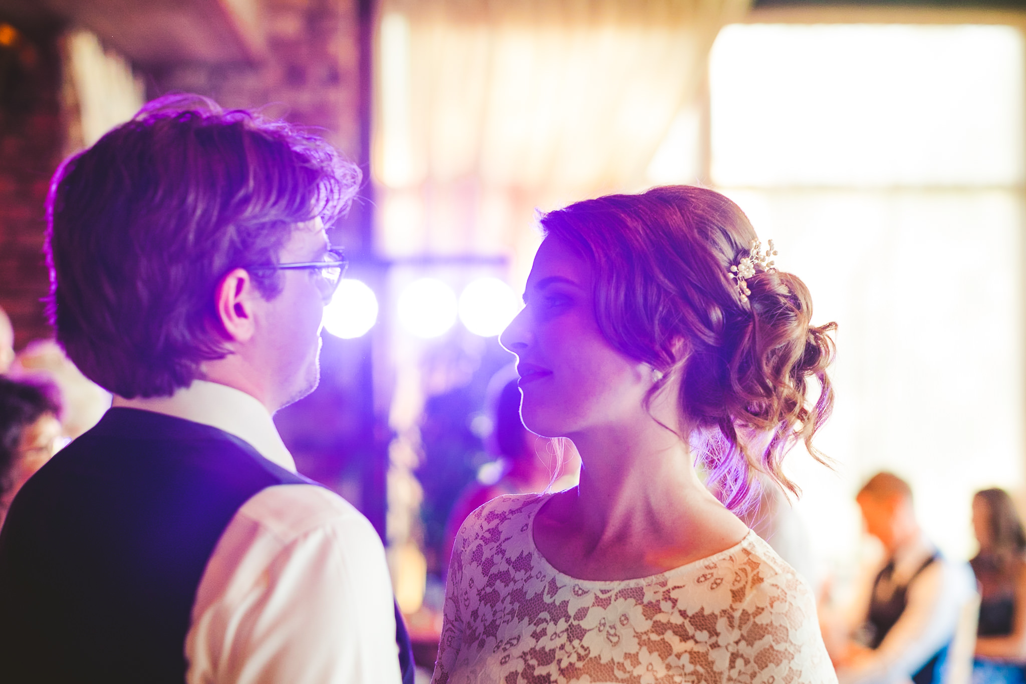 Close up of bride and groom first dance at Newton Hall