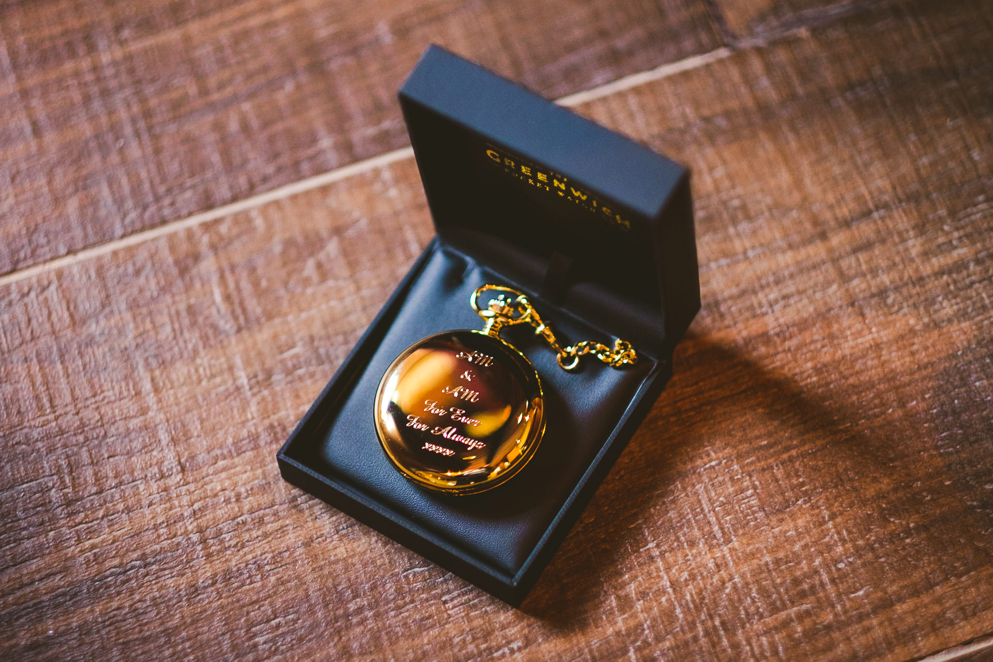 Pocket watch heirloom gift from the bride to the groom
