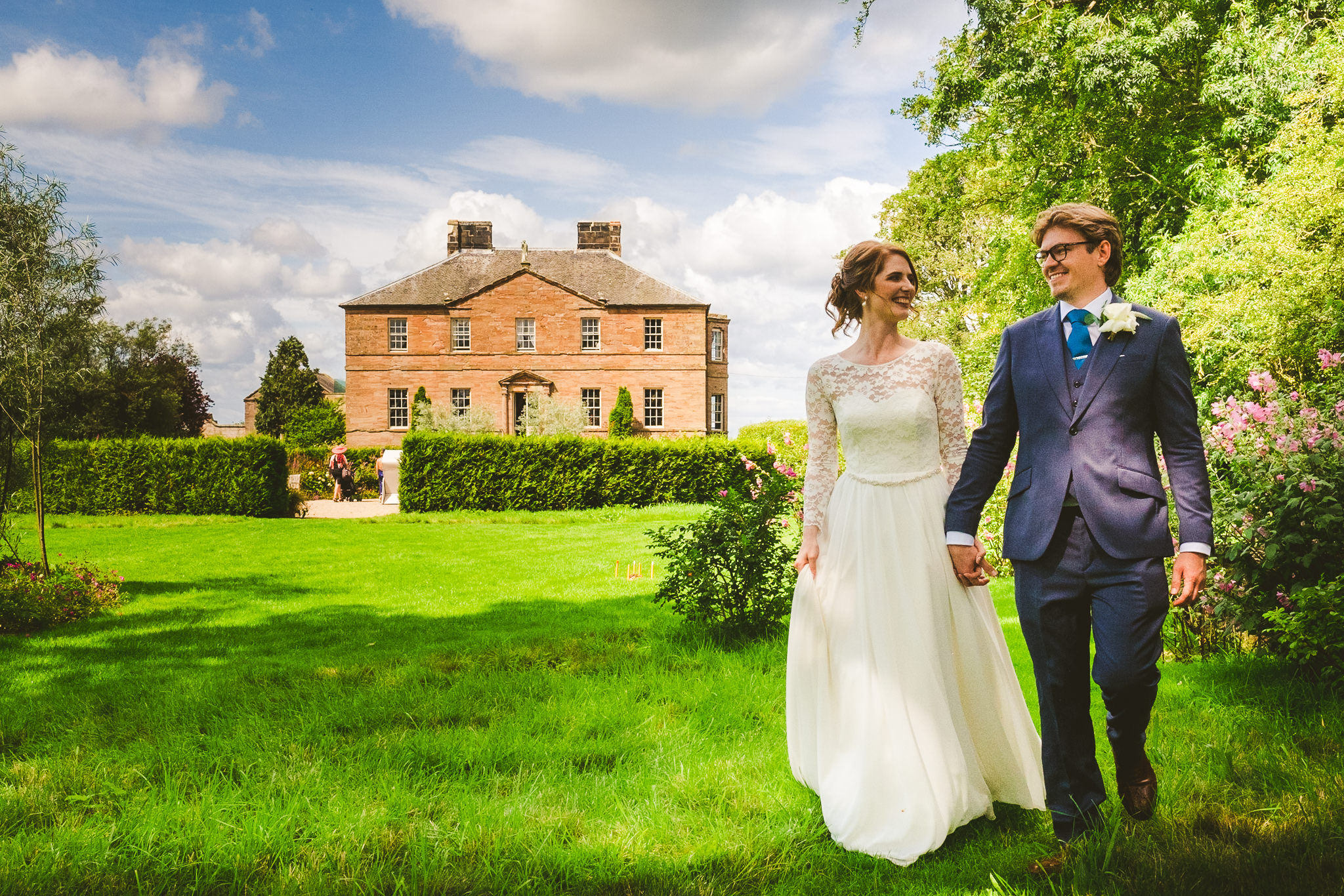 We had fabulous weather for Alice and Andrew's laid back wedding at Newton Hall in Northumberland