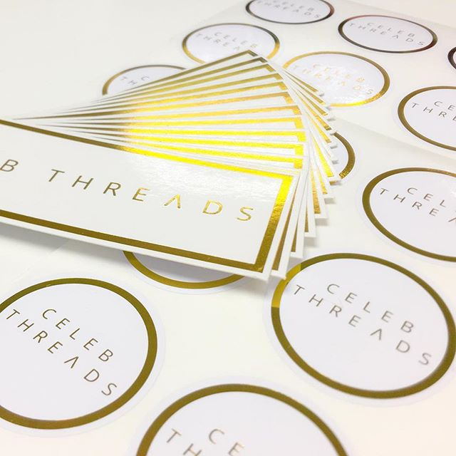 We love theses gold foil stickers and swing tags that we created for @celebthreads