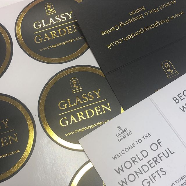 More bespoke foil stickers and personalised cards for our customer @glassygardenco