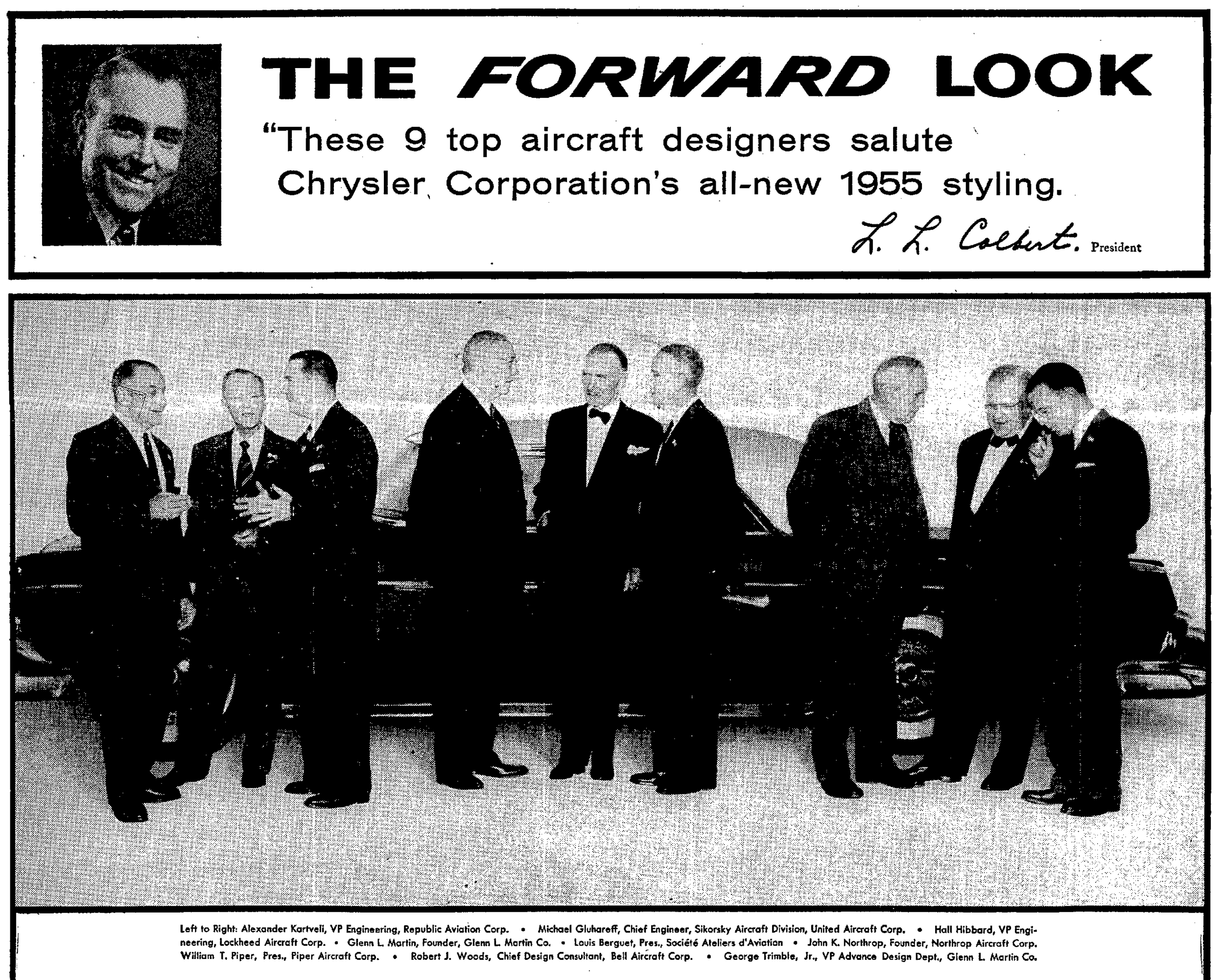 Chrysler Corporation borrowing design credibility from Kartveli and others