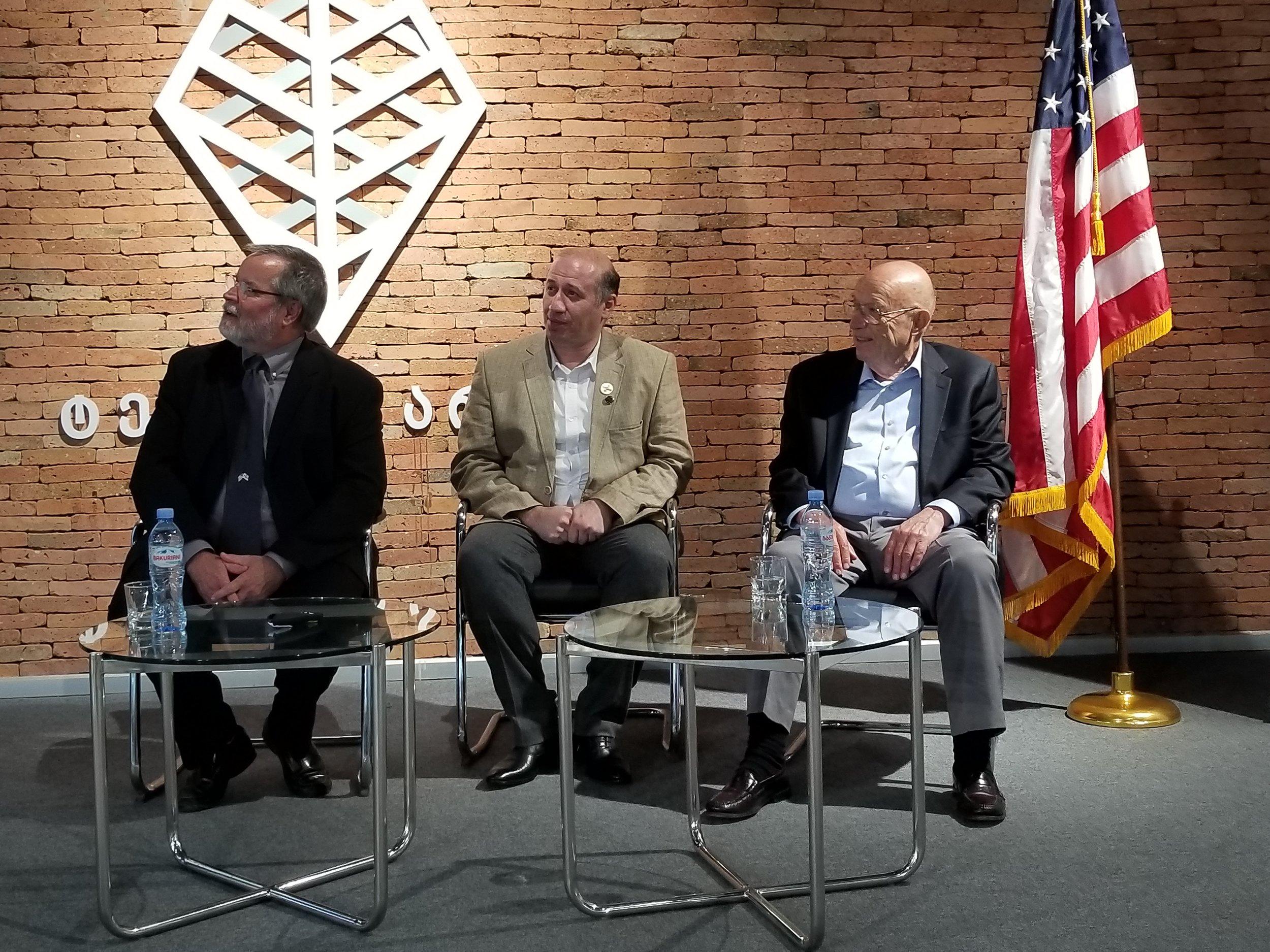Ramaz Bluashvili interviewing Robert Manning (left) and John Casini (right)