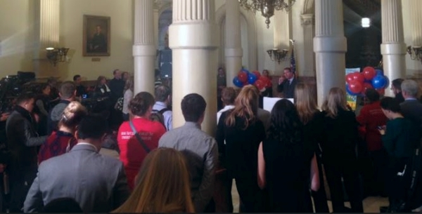 Rep. Lundeen addresses the gathering of approximately 200 anti human trafficking advocates.