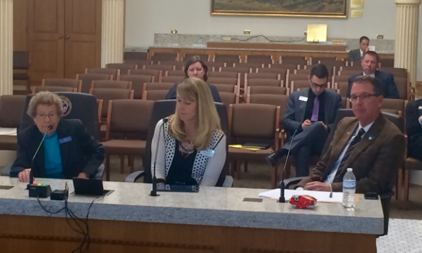 Peg Ackerman (Colorado Police Chiefs Associations), Jana Locke (Colorado Department of Public Safety) and Rep. Lundeen before the House State, Veterans and Military Affairs Committee.