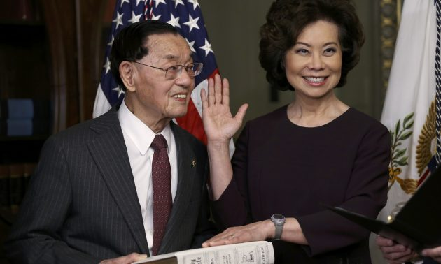 New Transportation Secretary Elaine Chao is sworn in at the White House in Washington, January 31, 2017.Photo: Reuters/Carlos Barria