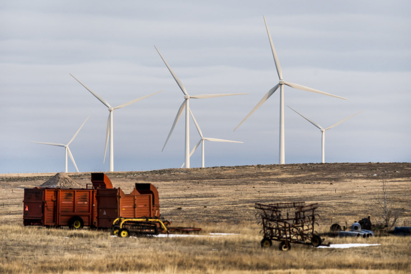 A wind farm near Calhan has rural residents asking policymakers to look into their illnesses. (Photo by Stacie Scott/The Colorado Springs Gazette)