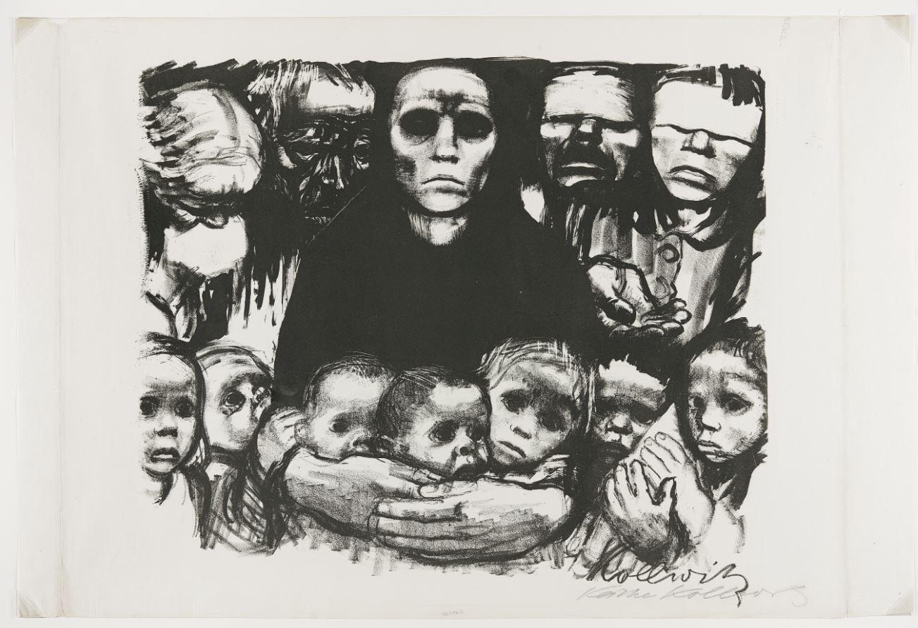"""""""Sobrevivientes"""". Grabado de la extraordinaria artista alemana Kathe Kollwitz (1867-1945)."""