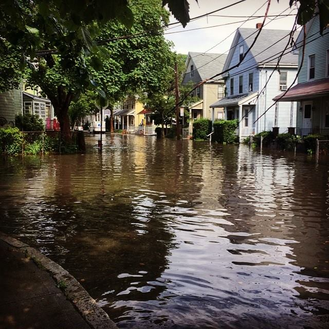 Flooding in Somerville after a summer downpour.