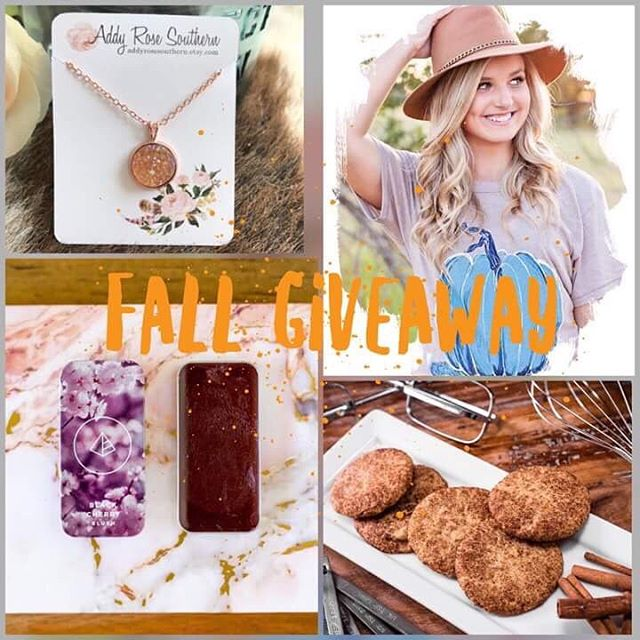 GIVEAWAY TIME!! I've partnered with some of my favorite businesses to give one lucky follower this AWESOME prize pack!  To Enter: 1. Follow Me @lilbiggsbakery  2. LIKE this photo 3. Share this post and tag a friend or friends 4. Repeat steps 1 & 2 on my gals pages.  TO ENTER GO HERE:  http://www.rafflecopter.com/rafl/display/de3a404d2/? Ends 9/30 11:59 Pm CST. Winner will be announced 10/01. Shares must be set to public. Winners outside of US will be responsible for shipping costs/fees. . . . . . ***Prize consists of  Necklace from @addyrosesouthern , pumpkin t-shirt from @august_bleu_and_co , One dozen gluten free and dairy free Snickerdoodle cookies from @lilbiggsbakery and Maskcara Beauty Lip + Cheek color in Black cherry @dklewis14  #contest #giveaway #makeup #maskcarabeauty #highlightandcontour #bblogger #blogger #beauty #makeup #makeuppallette #fashionblogger #mom #boymoms #girlmom #free #freemakeup #prize  #healthyliving #jewelry #glutenfree #cookies #fallfashion #fall #dairyfree
