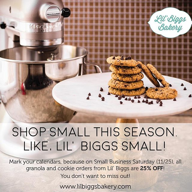 It's Shop Small Saturday!! What better way to shop small than at @lilbiggsbakery  Head over to our website (link in bio) to get 25% off your entire order, today only! 🍪🎉 . . . . . . . . . . . . . . . . . . . . . . . . . . #shopsmall #shopsmallbusiness #shopsmallsaturday #local #localbusiness #supportlocal #supportlocalbusiness #glutenfree #dairyfree #soyfree #cookies #glutenfreecookies #glutenfreebakery #glutenfreebaking #encinitas #sandiego #dairyfreecookies #granola