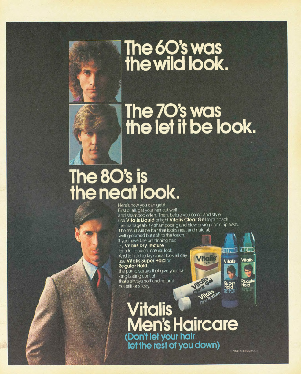 The style of the early 80s was quickly being defined by the yuppie look (1983).