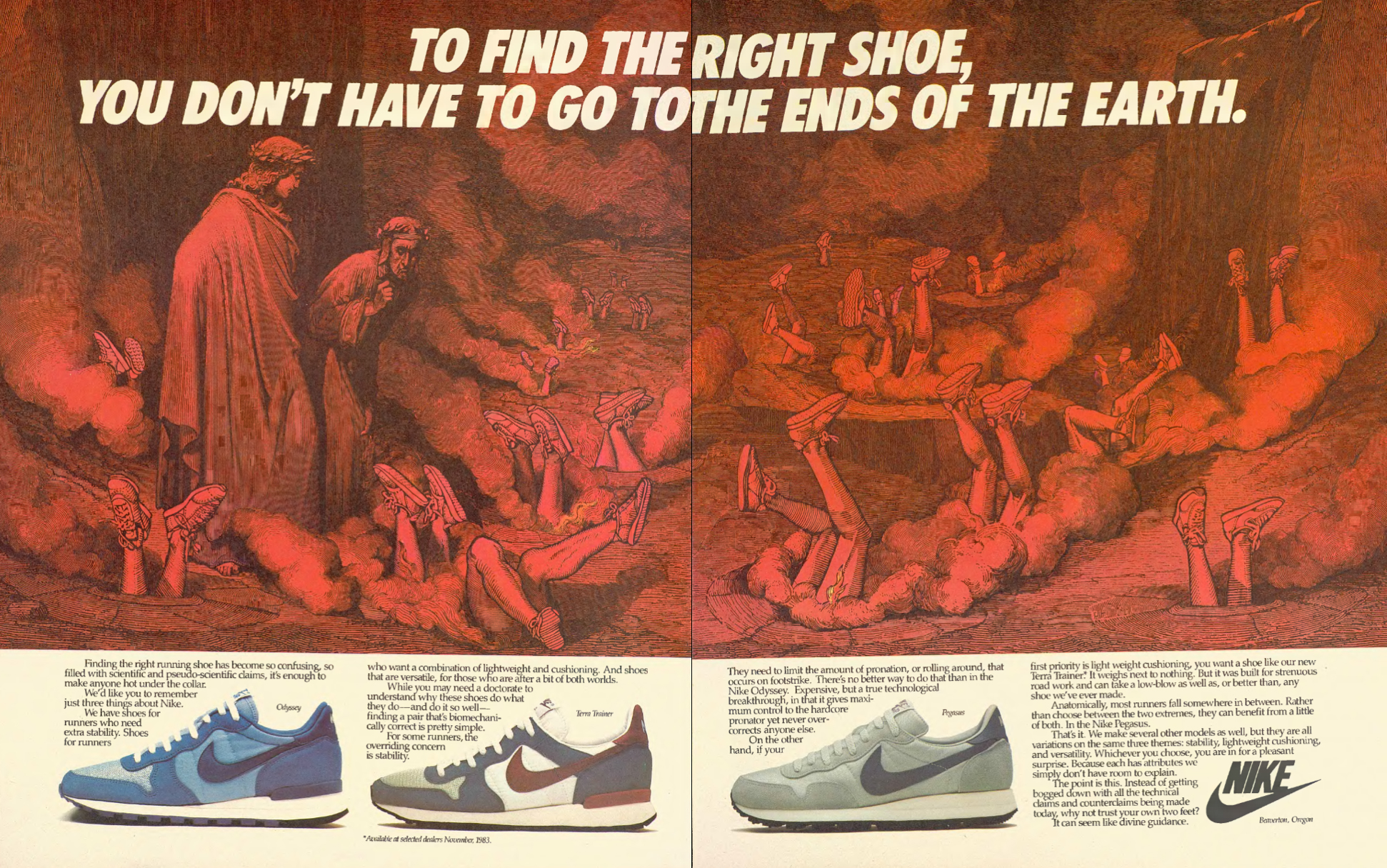 This NIKE advertisement reminded me of visiting the medieval wing of a European art gallery (1983).