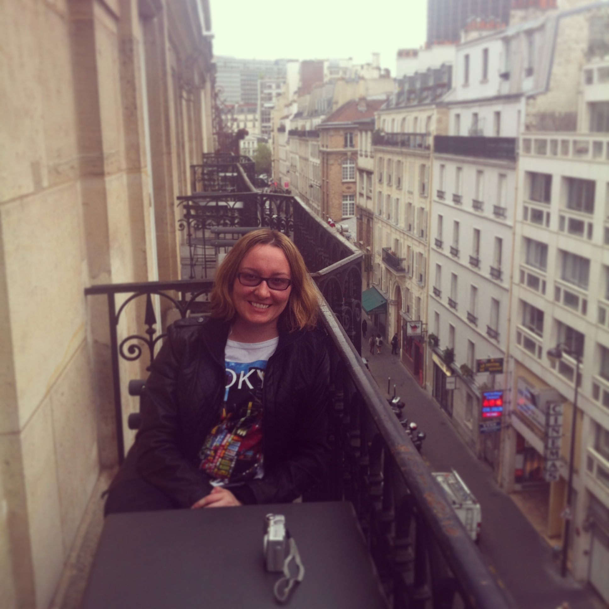 On our balcony at the Lenox Montparnesse hotel in Paris.