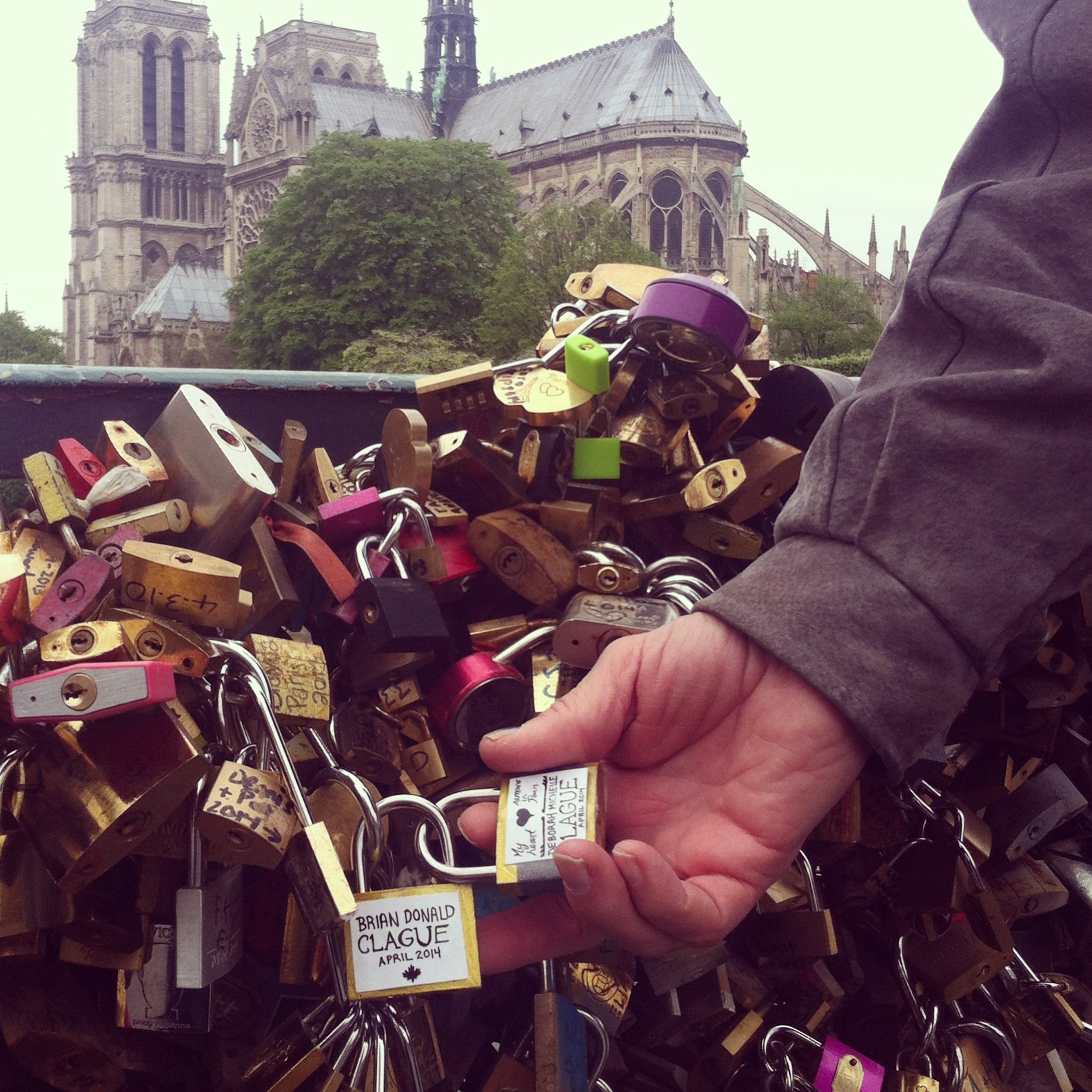 Clague locks in the shadow of Notre Dame Cathedral.